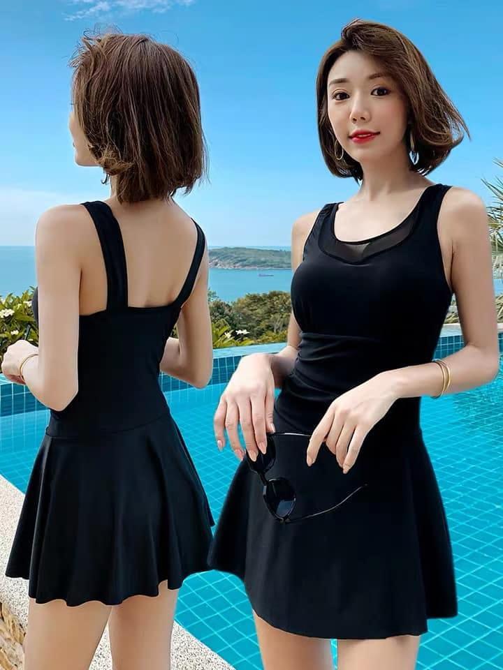 【微笑生活】超顯瘦連身泳裝 大尺碼泳裝 修飾款泳衣 黑色泳裝 2XL 3XL 90kg妞可穿 0
