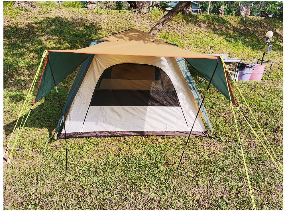 駝綠色自動速開家庭3-4人帳篷 防暴雨抗紫外線沙灘釣魚帳篷 7