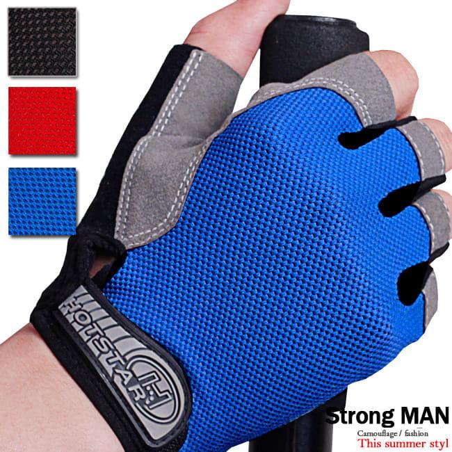 透氣網布半指款運動手套    露指手套短指手套 0