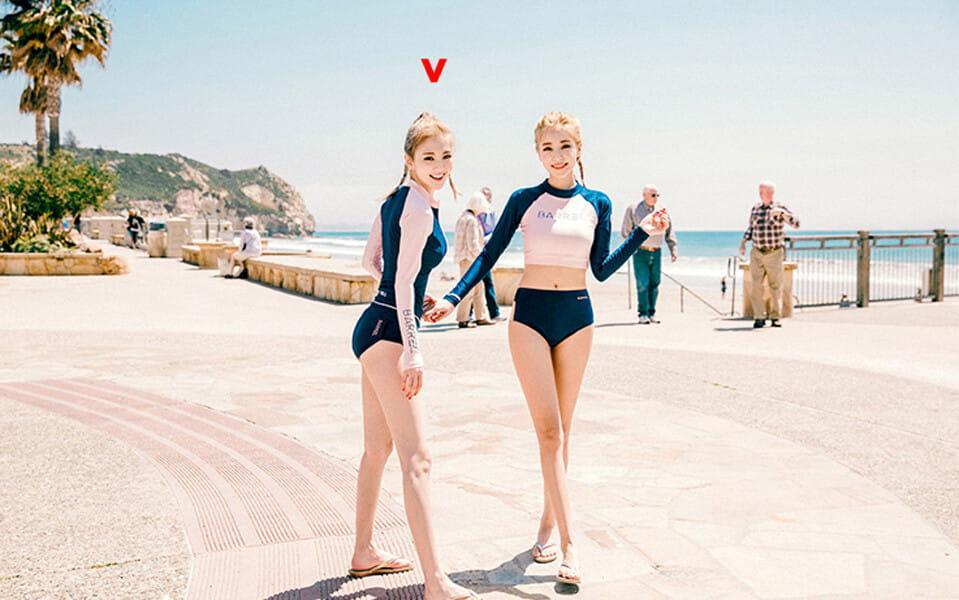 【泳衣三件套】韓版防曬外套拉鍊顯瘦泳衣 (有胸墊超顯瘦) 12