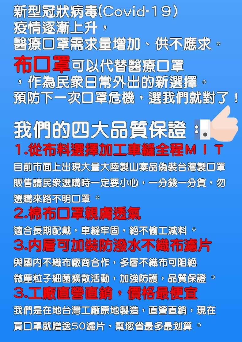 【ELASTI】台灣製MIT成人純棉布可水洗防護口罩(送50片不織布濾片) 8