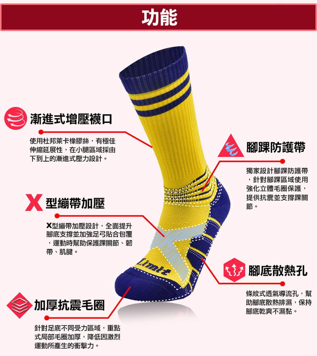 【力美特機能襪】繃帶競技球襪(黃紫) 3