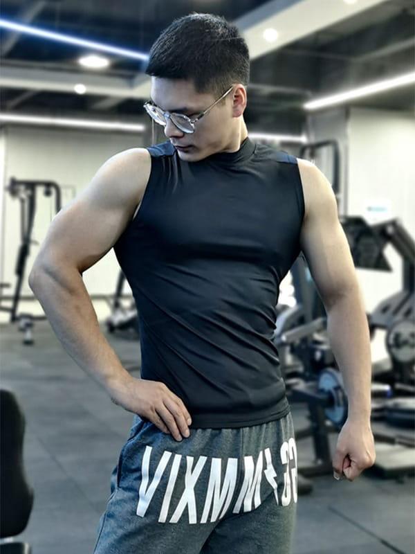 (快速出貨) 男士運動背心無袖緊身速乾運動彈力坎肩健身T恤高領訓練背心 20