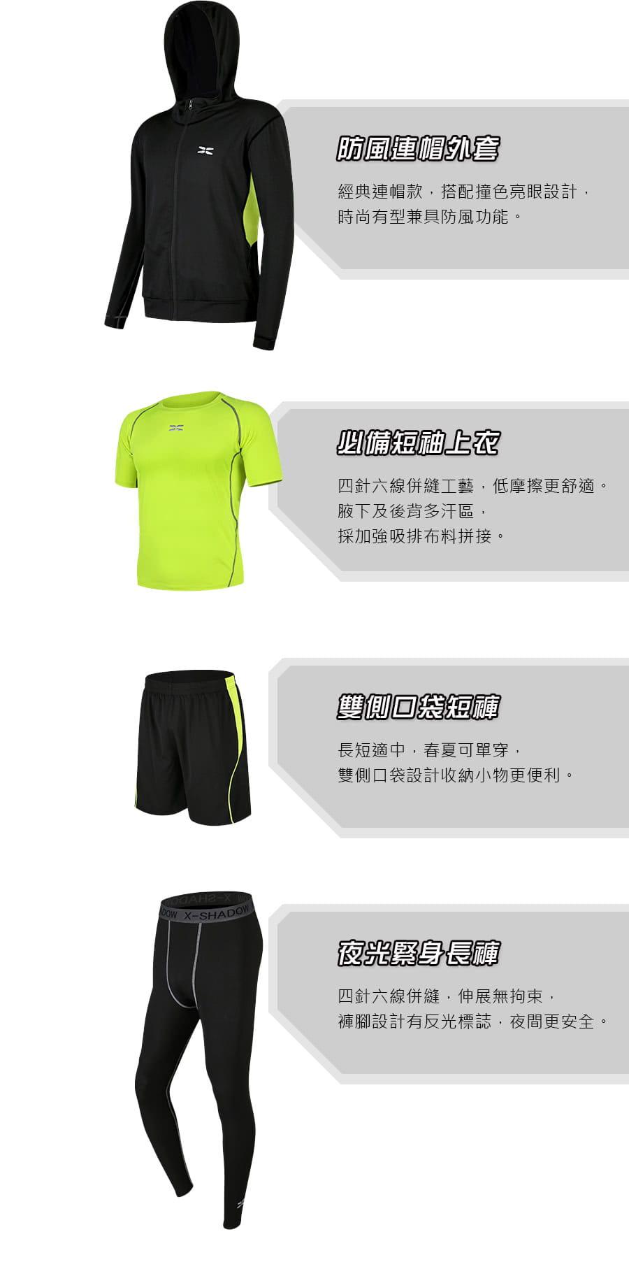 【Un-Sport 高機能】專業健身吸排速乾四件式運動套組(外套+短袖+短褲+緊身長褲) 2