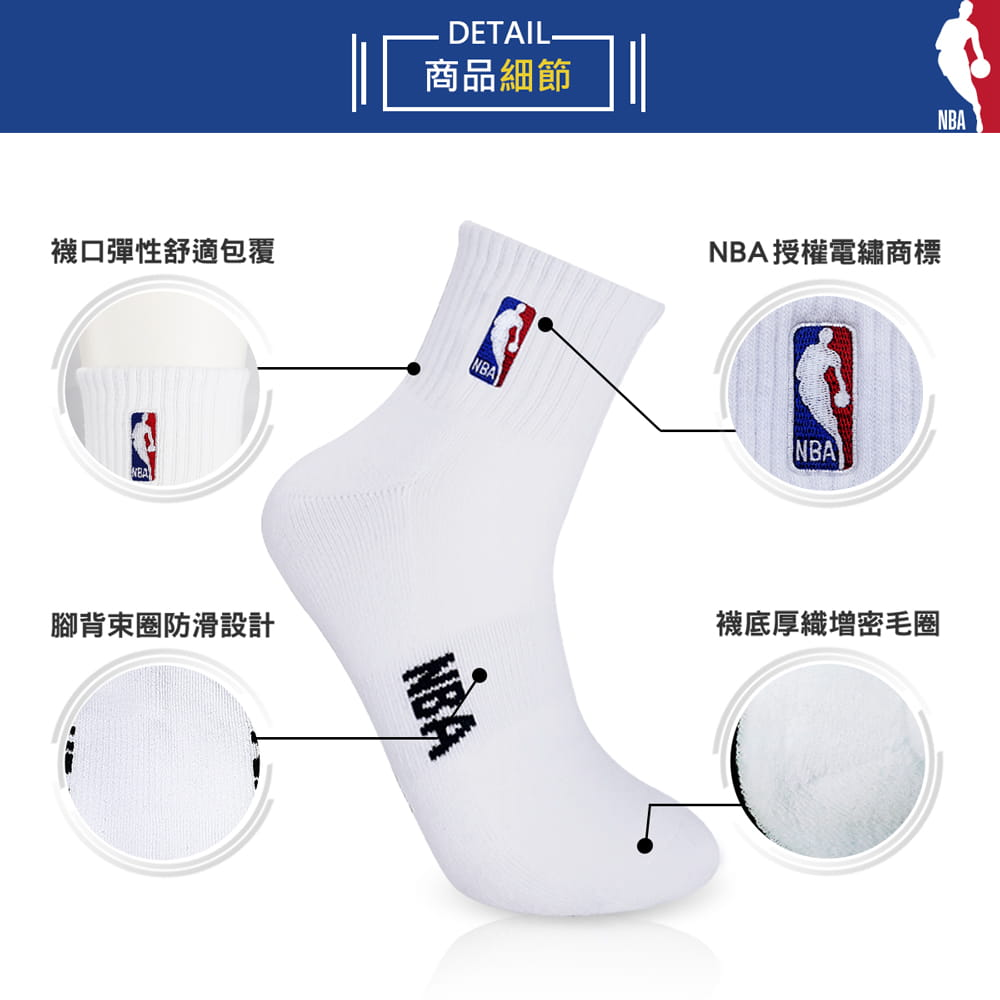 【NBA】 經典刺繡束腳底網眼毛圈短襪 3