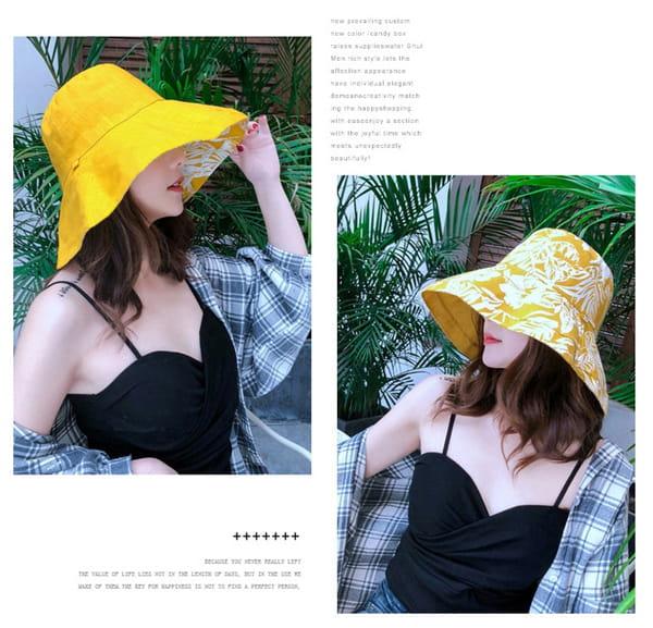 日系雙面拼色摺疊遮陽帽 3