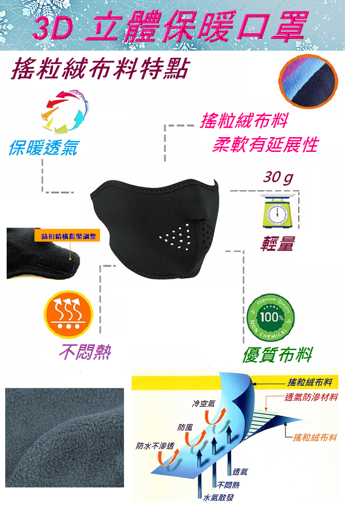 【u-fit】3D立體保暖口罩 1