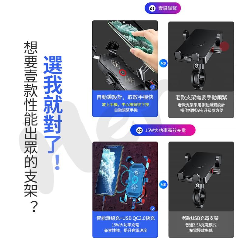無線充電 機車架 二合一通用版 一秒開夾 機車手機架 手機支架 GoGoro 外送員 機車支架 2
