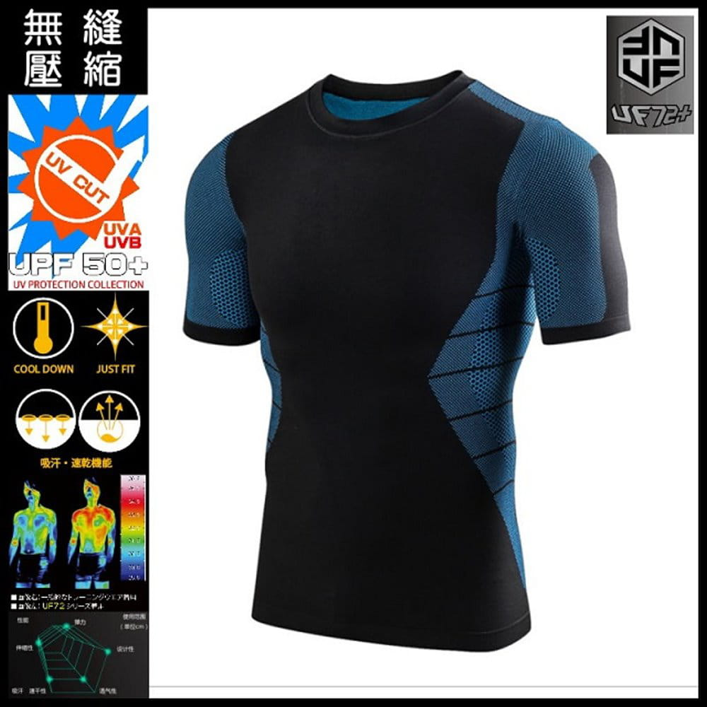 【UF72+】UF-MA58抗UV透氣速乾無縫中壓蜂巢式運動壓縮訓練衣/黑藍 0