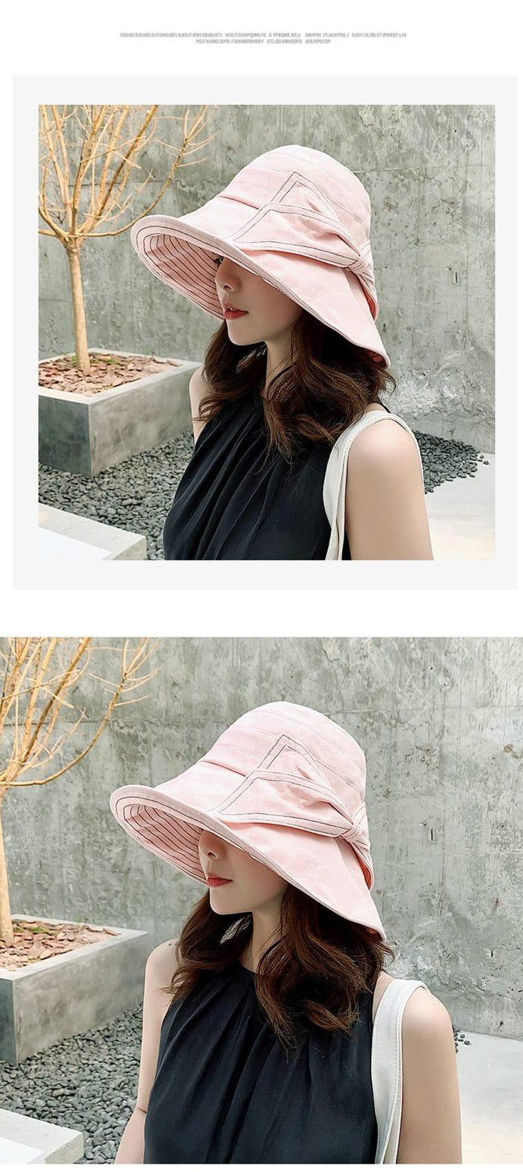 防曬護臉透氣折疊遮陽帽 5