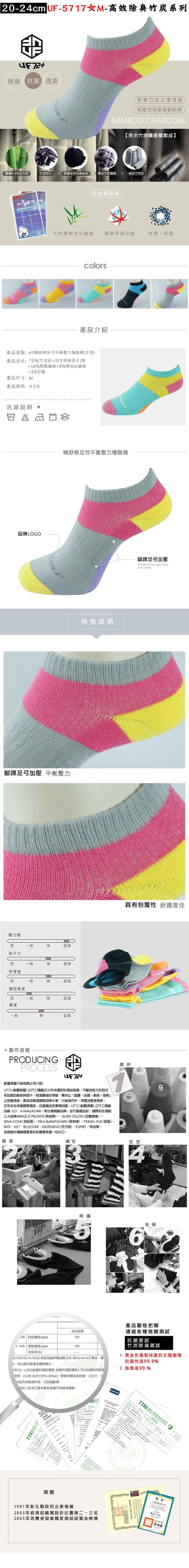 【UF72+】UF5717 elf精舒棉足弓平衡壓力慢跑男女襪 2