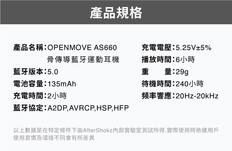 【AFTERSHOKZ】OPENMOVE AS660骨傳導藍牙運動耳機(純真白) 3