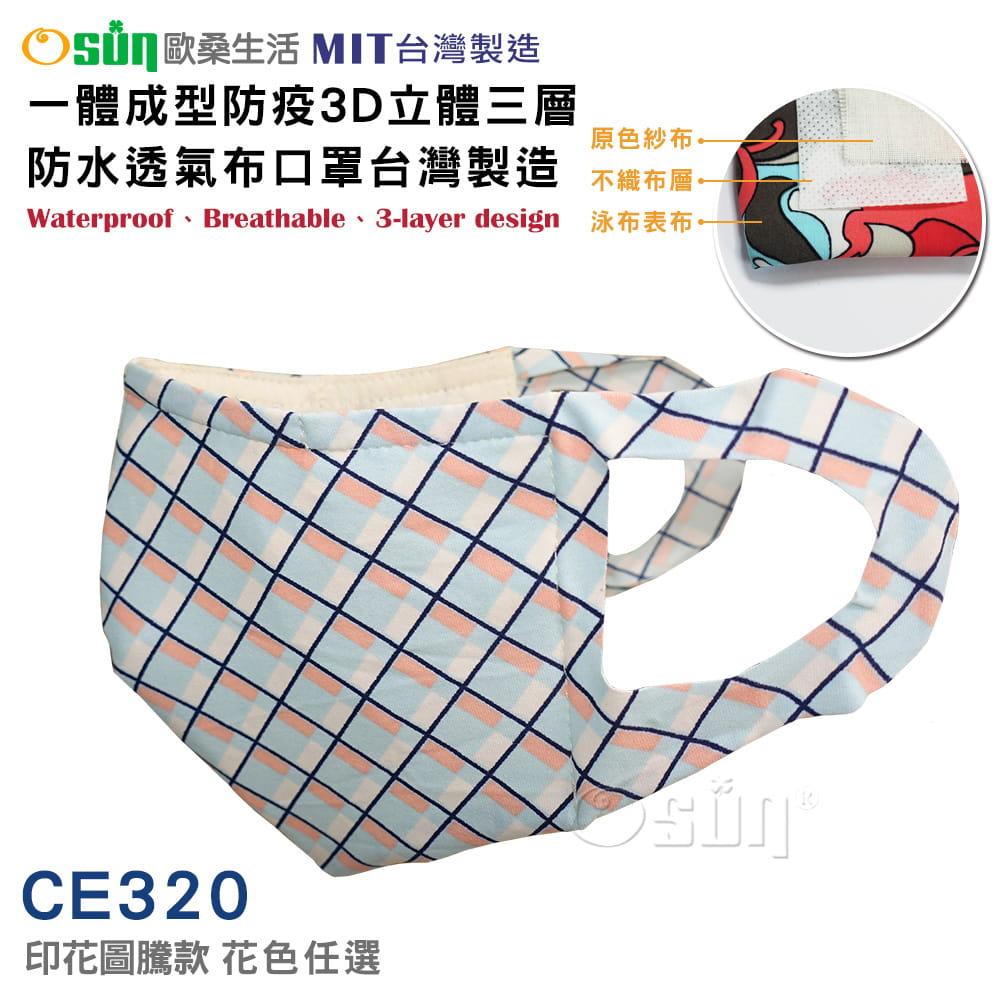 一體成型防疫3D立體三層防水透氣布口罩台灣製造(印花圖騰款)