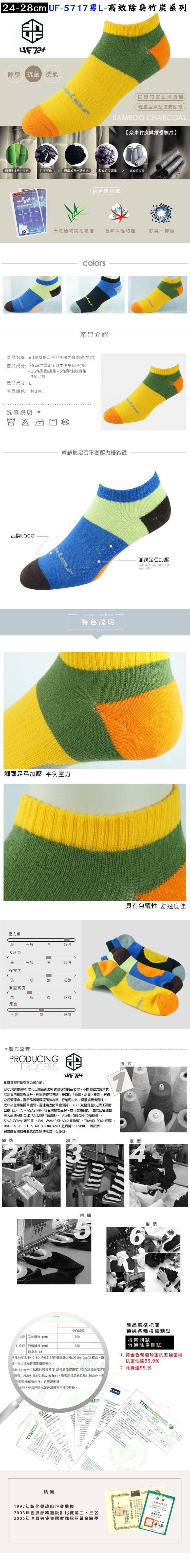 【UF72+】UF5717 elf精舒棉足弓平衡壓力慢跑男女襪 1