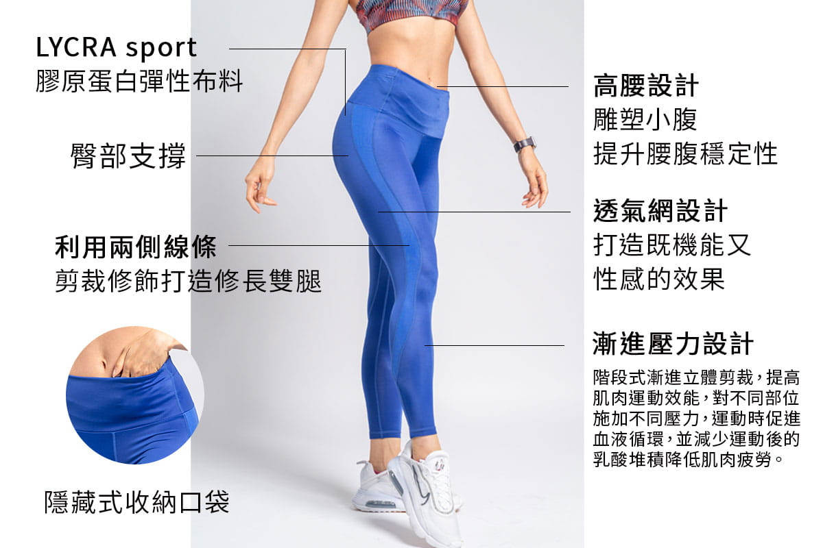 【Attis亞特司】膠原蛋白藍網緊身壓力褲 1