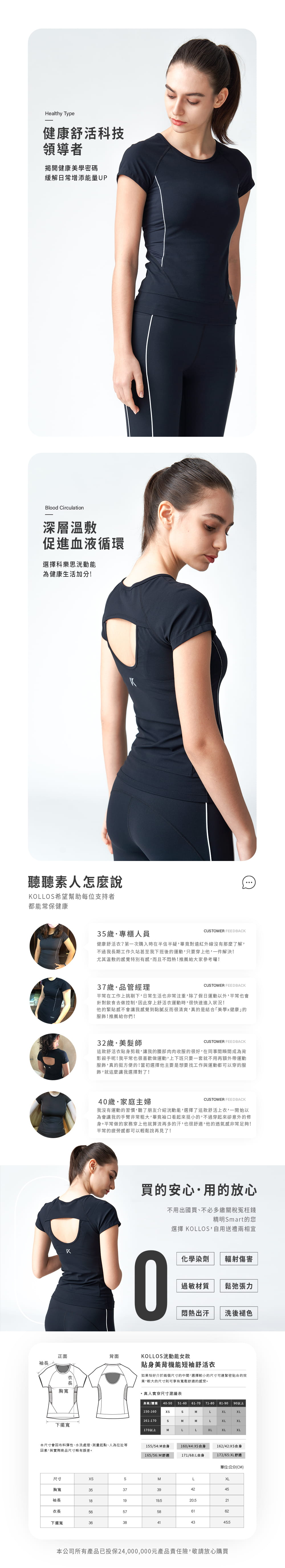 【KOLLOS科樂思】 【洸動能貼身美背機能短袖舒活衣 遠紅外線】 靜謐黑 6