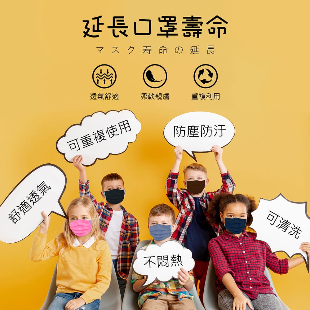 【MIT台灣製造-100%純棉口罩套】兒童/成人款 多色任選 1