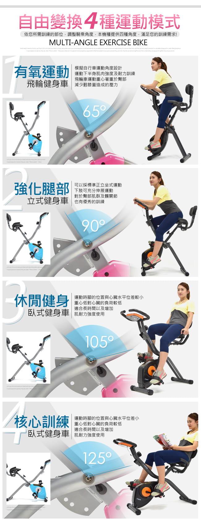 【SAN SPORTS】四角度飛輪式磁控健身車(超大座椅+椅背) 4