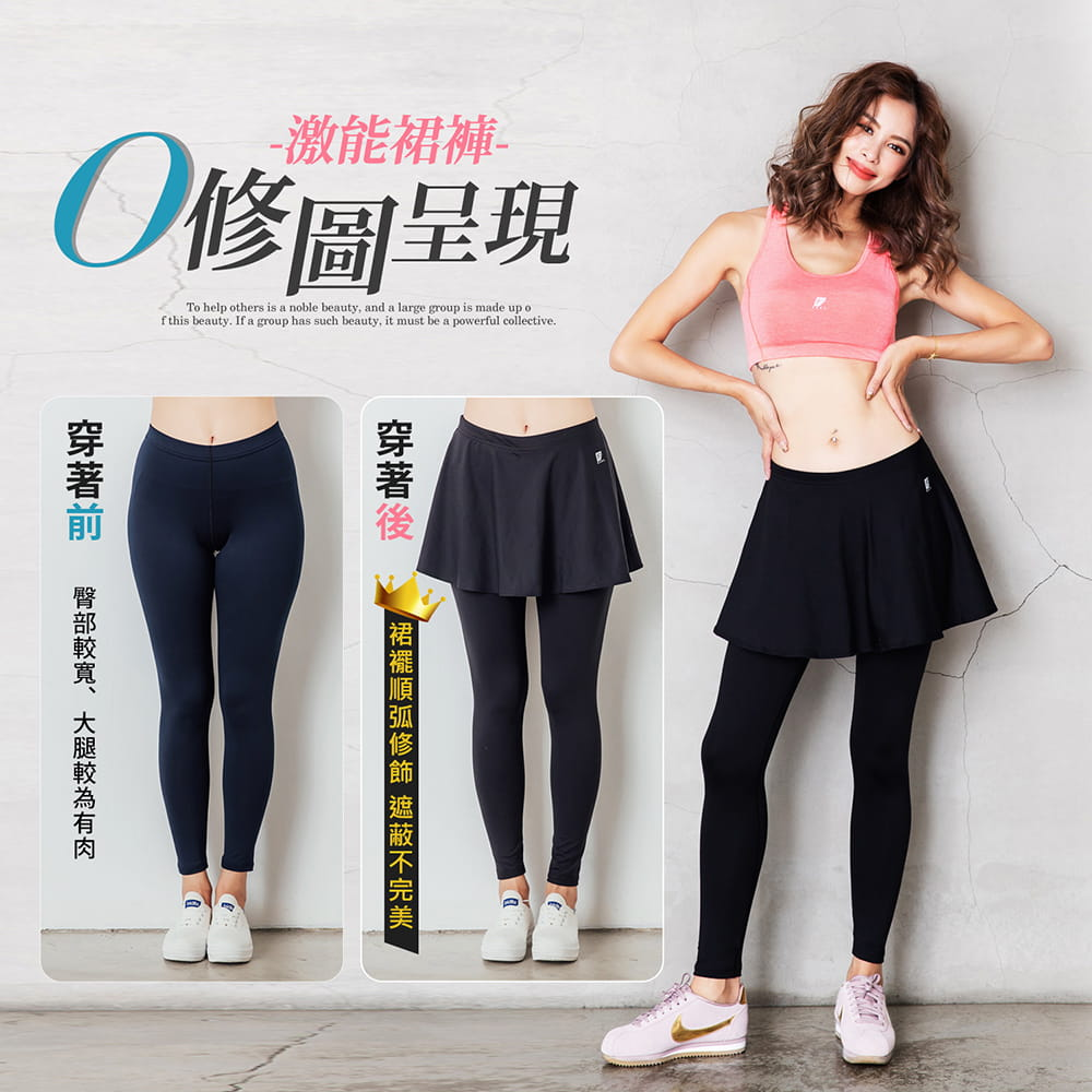 【GIAT】台灣製激能3.0排汗防曬壓力裙褲 9