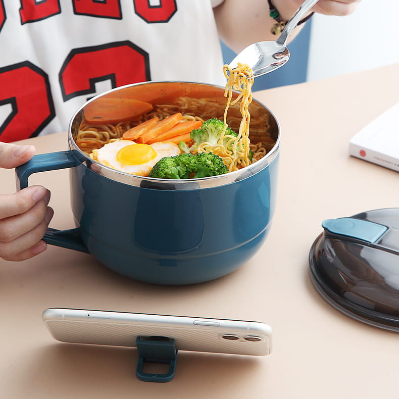 【1300ml】304不鏽鋼泡麵碗 蓋子可瀝水 蓋子可當手機架 SG9139泡麵碗 304不鏽鋼碗 19