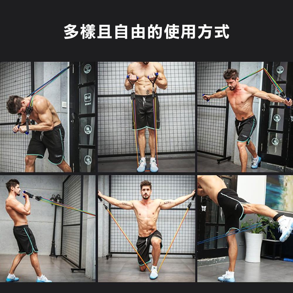 健身彈力帶11件組 阻力繩 (10LB~100LB) 4