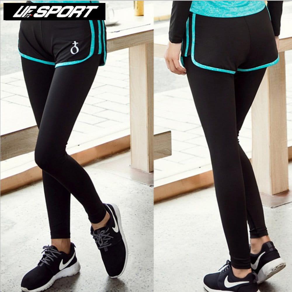 【UF72+】UF-W17121時尚高彈力女款速乾瑜珈輕壓假兩件運動褲/黑藍 0