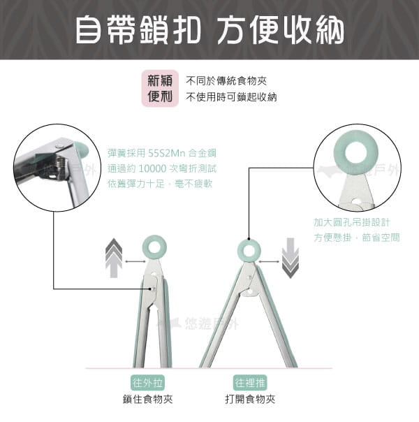 【悠遊戶外】耐熱矽膠不鏽鋼食物夾 5