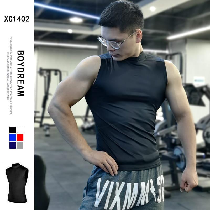 (快速出貨) 男士運動背心無袖緊身速乾運動彈力坎肩健身T恤高領訓練背心 0
