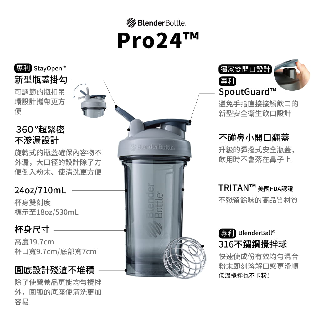 【Blender Bottle】Pro24系列-Tritan高透視搖搖杯24oz 3