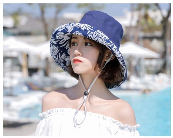日系雙面拼色摺疊遮陽帽 4