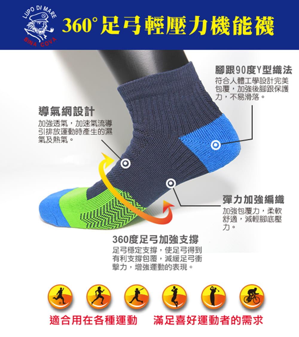 【老船長】(K144-7L)足弓輕壓機能運動襪-男款 2