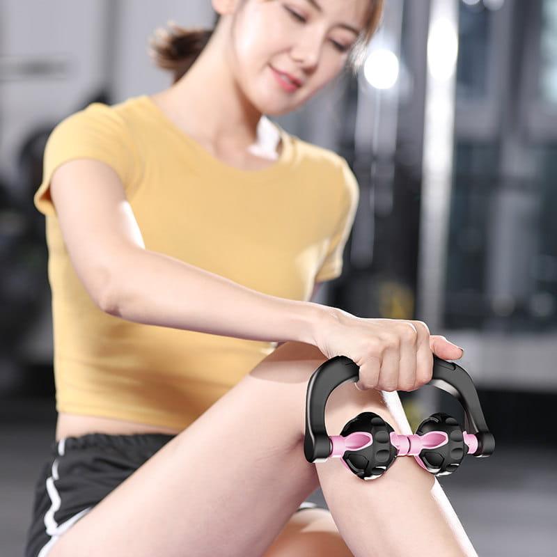 【快速出貨】手持腿部按摩滾輪按摩棒瘦小腿狼牙棒健身家用 0