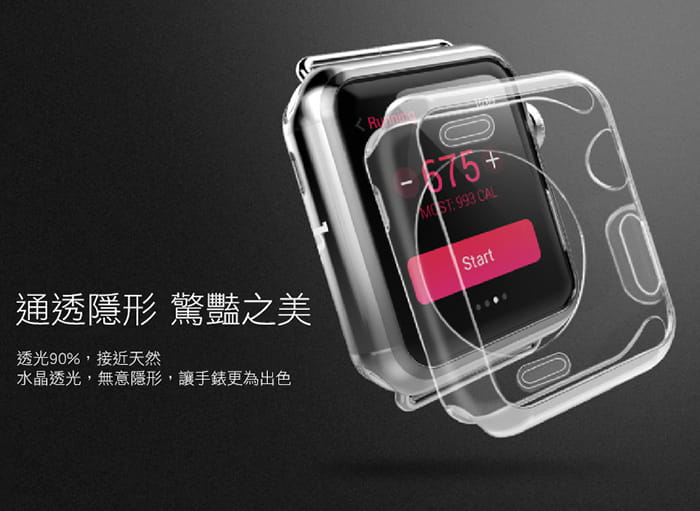 AdpE Apple Watch 3/4/5/6/SE 專用 透明邊框保護殼套 3