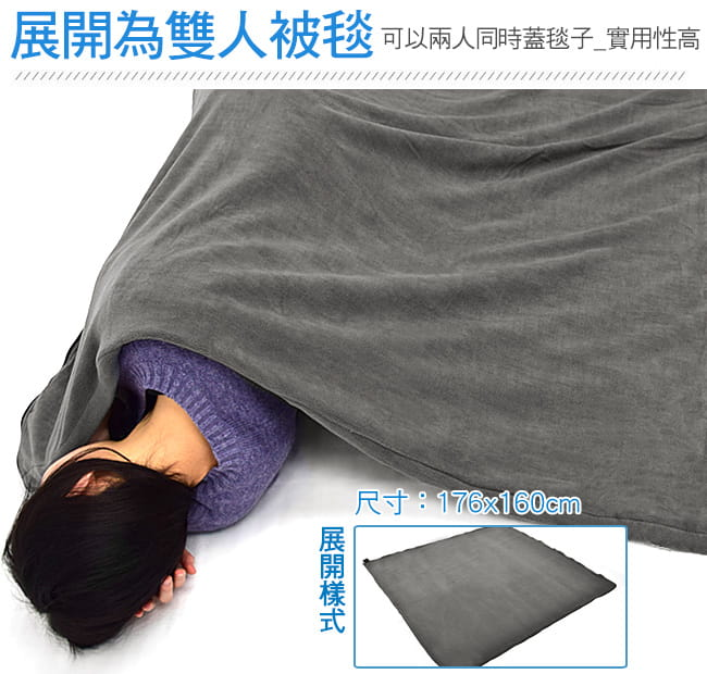 舒適搖粒絨保暖睡袋內套  (抓絨睡袋內膽/露宿袋內袋/空調被空調毯/懶人毯冷氣毯子) 3