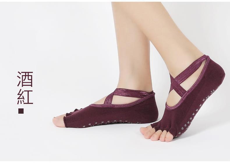 透氣瑜珈防滑五指運動襪 4