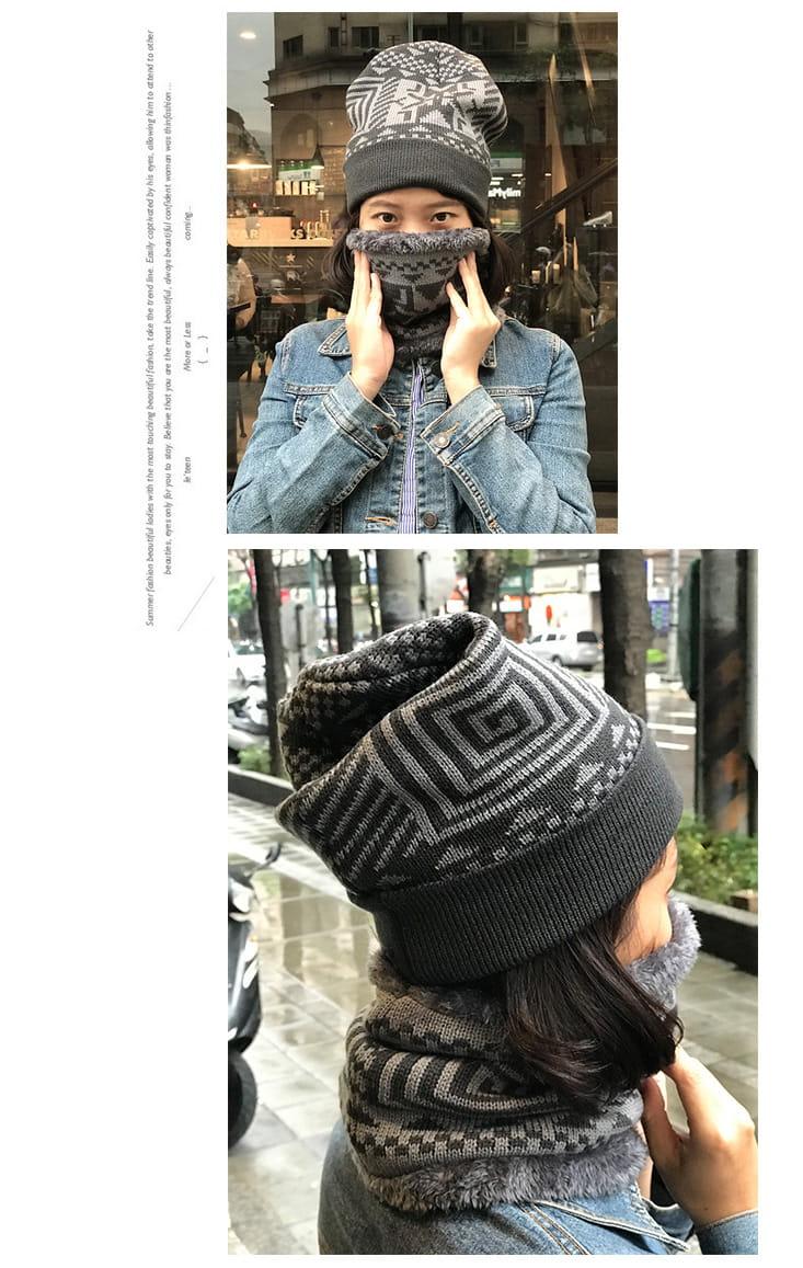 【QI 藻土屋】圖騰加絨超柔軟超保暖圍脖頭帽二件組 (毛帽+圍脖) 3色任選 9