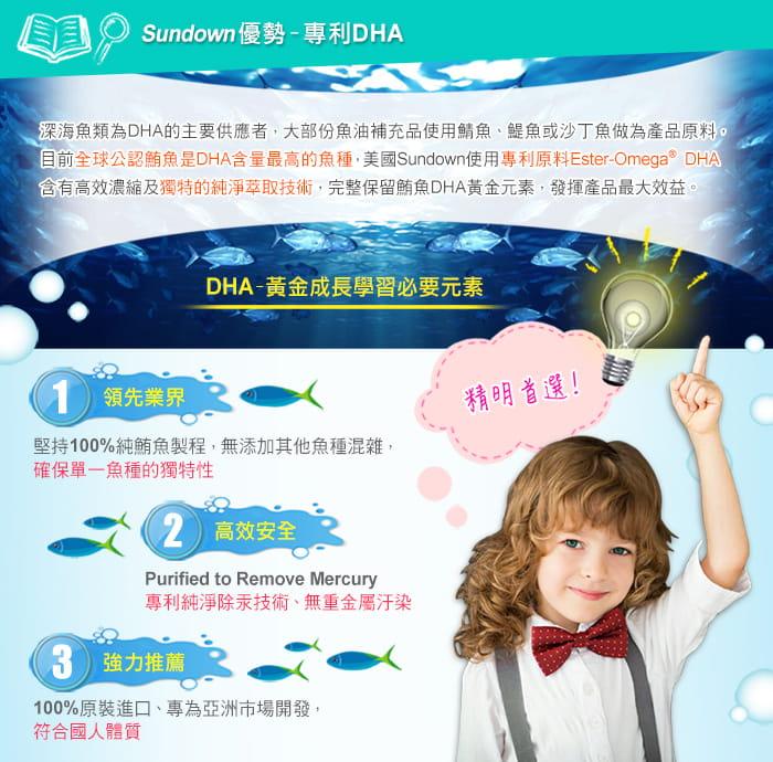 【美國Sundown日落恩賜】兒童精明鮪魚油DHA軟膠囊(100粒/瓶) 2