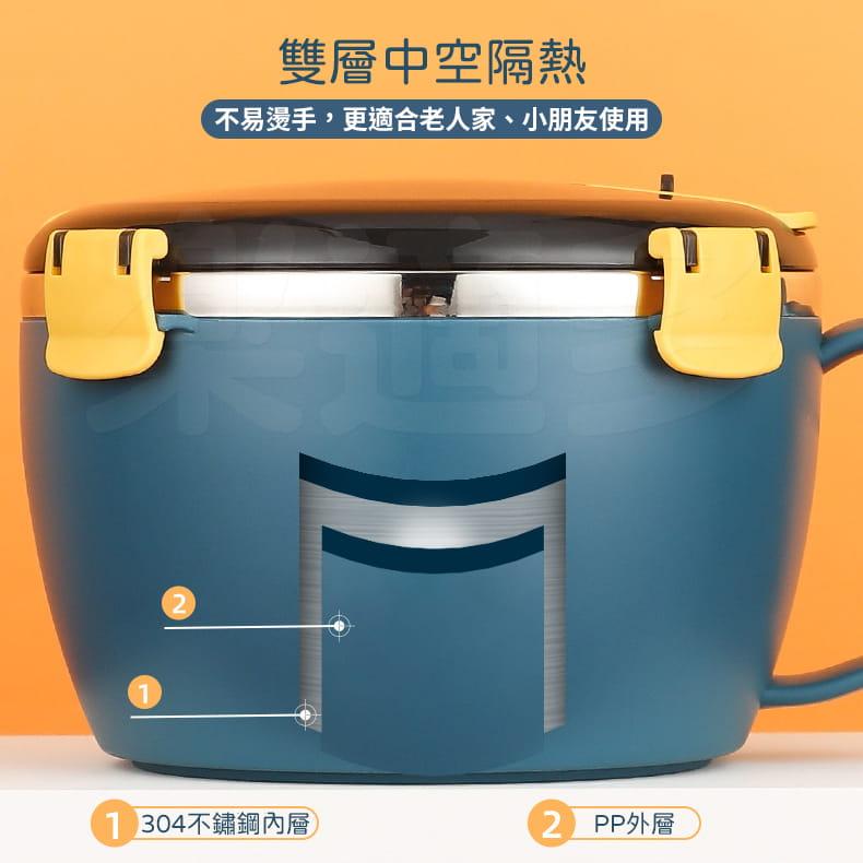 304不鏽鋼密封扣泡麵碗 蓋子可瀝水可當手機架 QF-9138【1300ml】泡麵碗 10