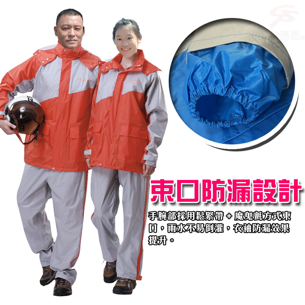 【金德恩】飛馳型兩件式套裝雨衣 8