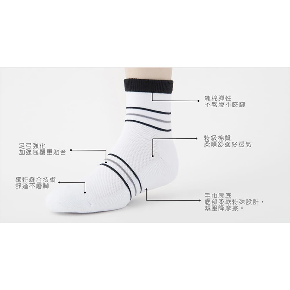 【老船長】(B3-144)三橫線毛巾氣墊加大運動襪 9