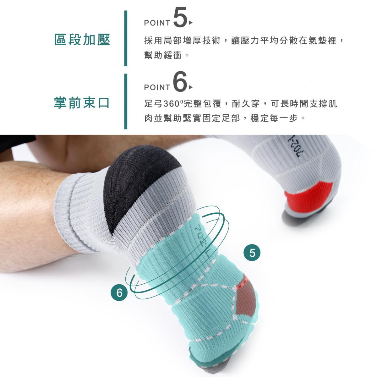 【FAV】足體工學動力跑襪 3