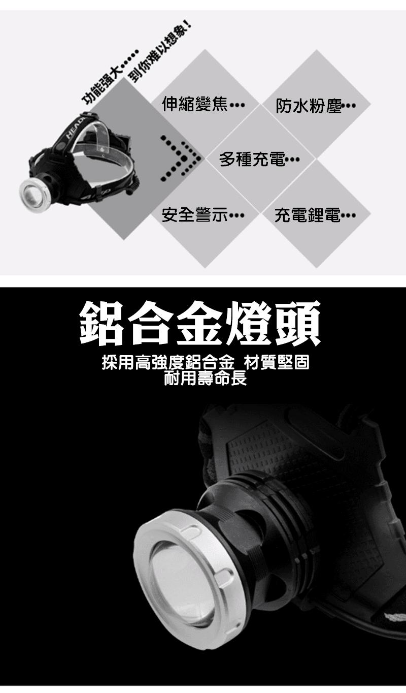 T50型變焦P70頭燈+USB線(單賣) 3