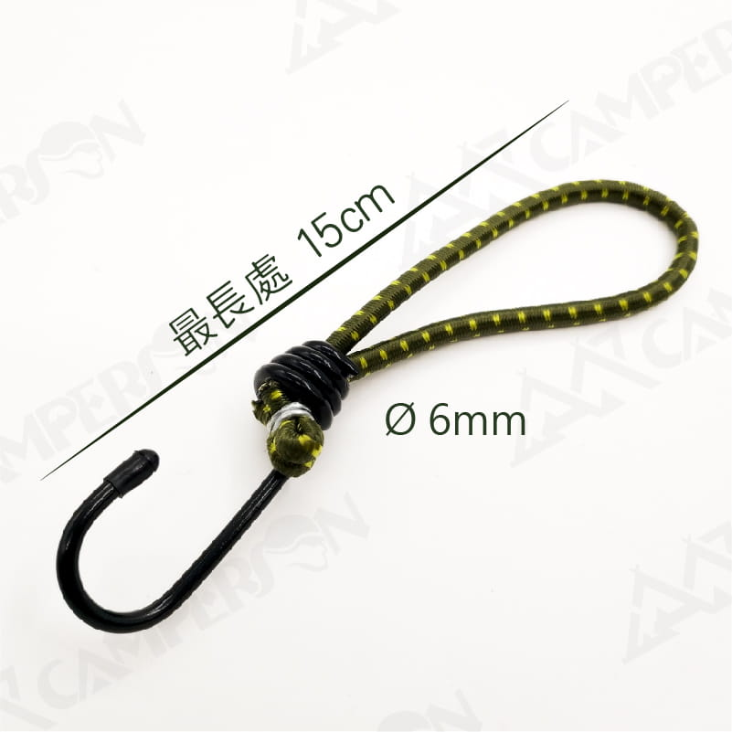 【CAMPERSON】 15cm單勾彈力繩4入 7