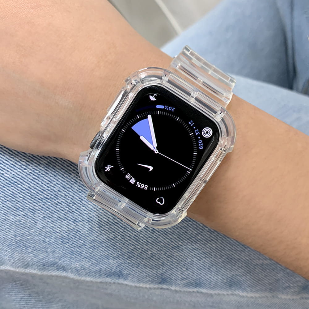 AdpE Apple Watch 3/4/5/6/SE 專用 42/44mm 全包覆透明邊框保護錶帶