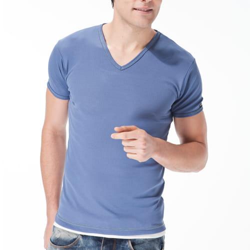 【MORINO摩力諾】吸汗速乾短袖V領衫 1