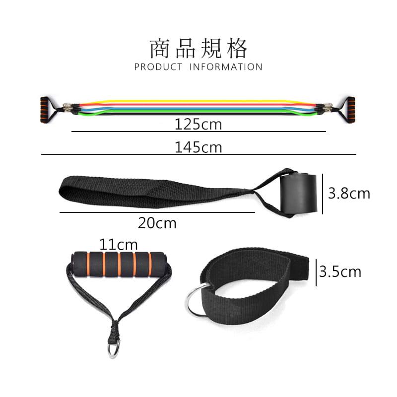 健身彈力帶11件組 阻力繩 (10LB~100LB) 9