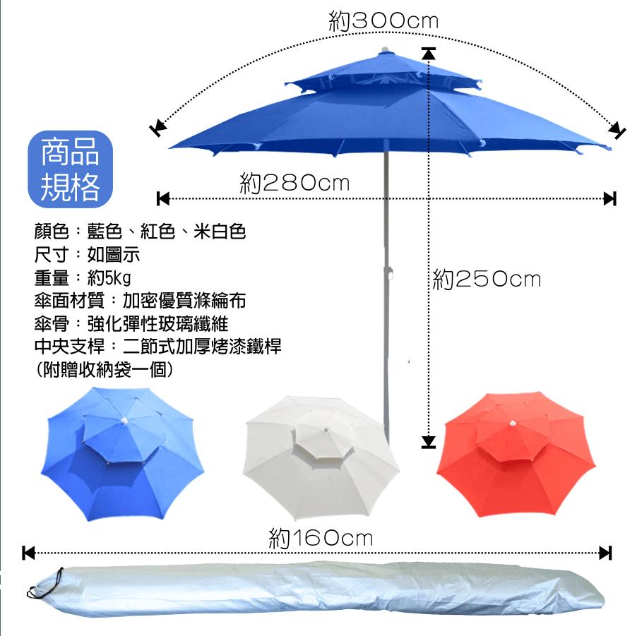 300cm超大雙層玻纖傘骨大陽傘+17kg傘座 送收納袋 2