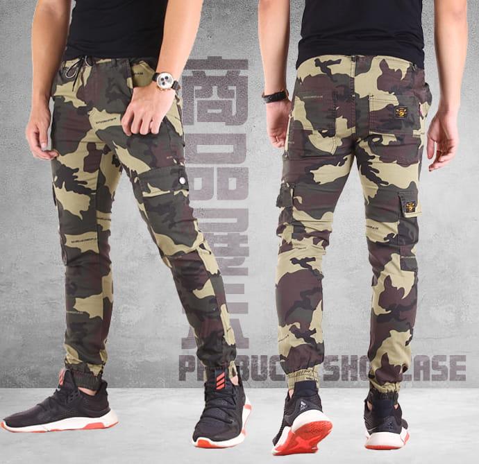 【CS衣舖】迷彩工裝 多口袋 修身顯瘦 工作褲 休閒長褲 縮口褲 兩色 10