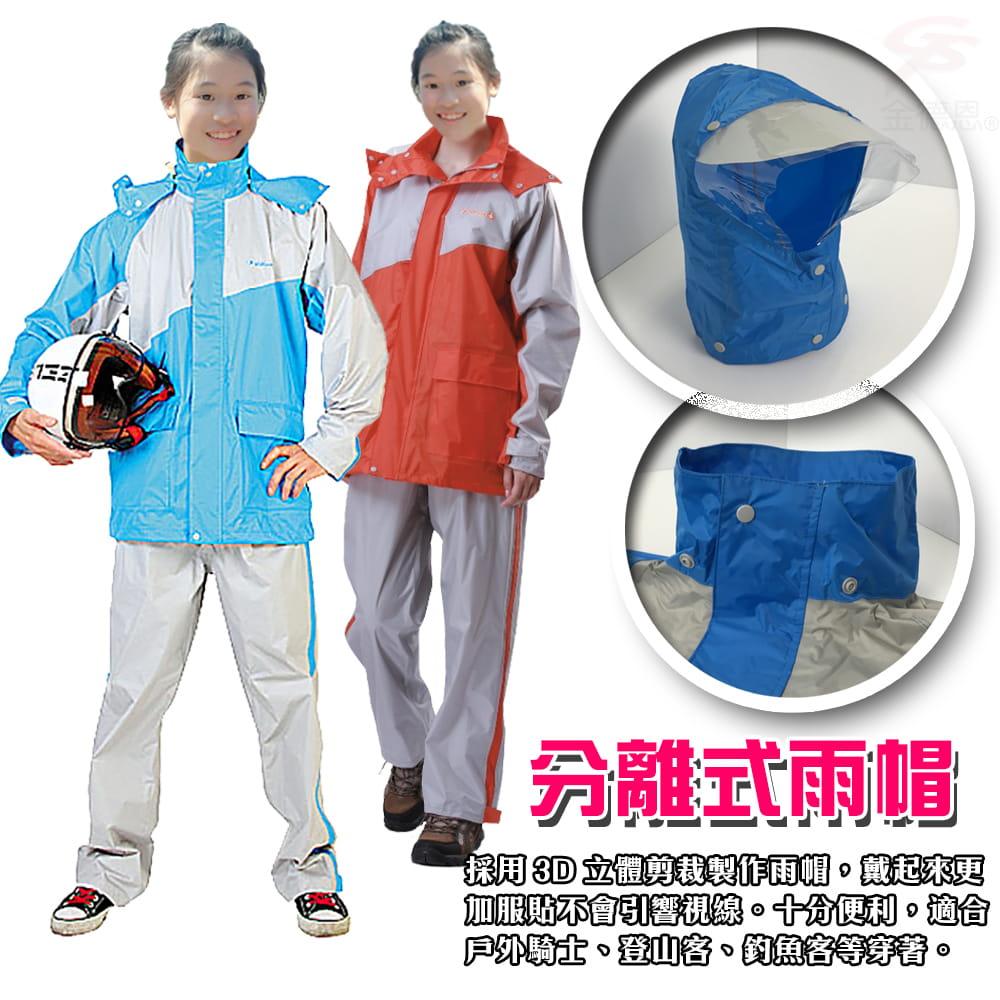 【金德恩】飛馳型兩件式套裝雨衣 6