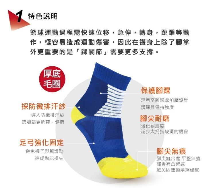 【旅行家】籃球吸震短襪 2